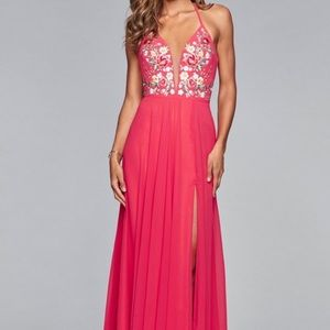 Faviana Plunging Floral Embroidered Chiffon Gown